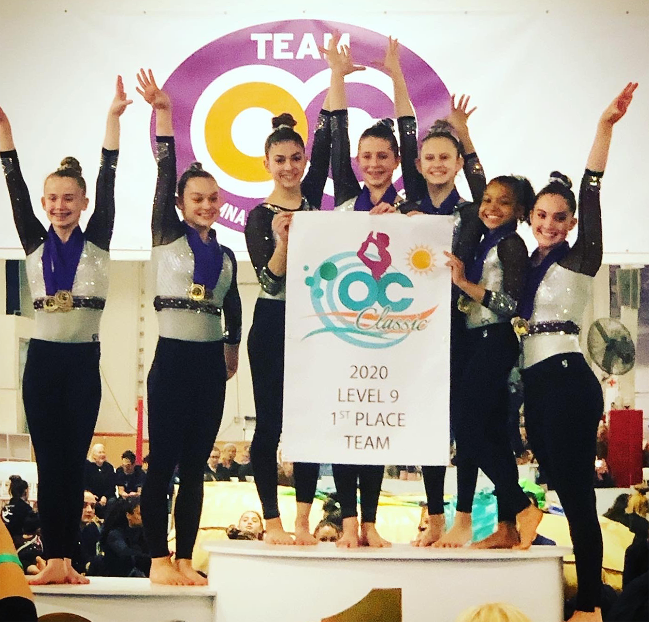 Flight School Gymnastics Level 9 team at OC Classic 2020
