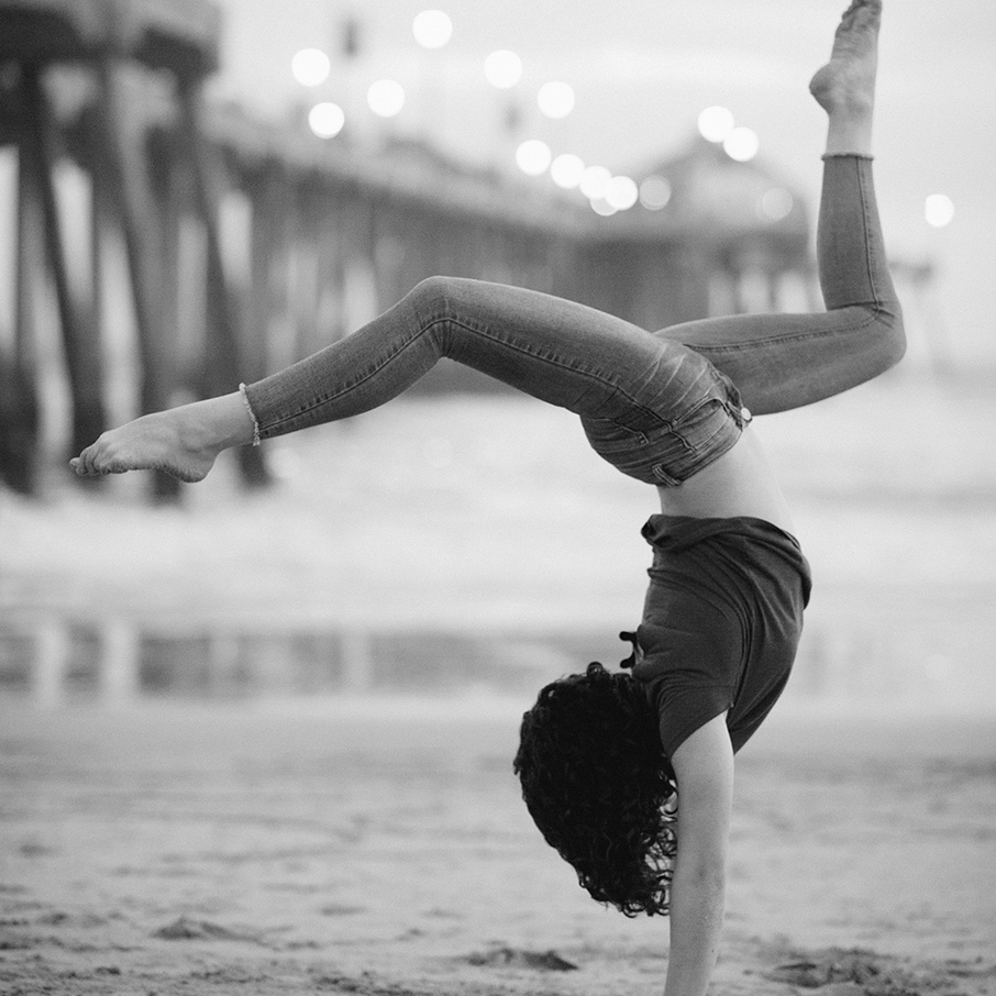Jacqueline Grace Young doing walkover at beach