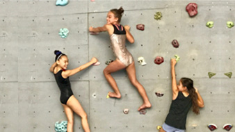 climbing wall at Flight School Gymnastics