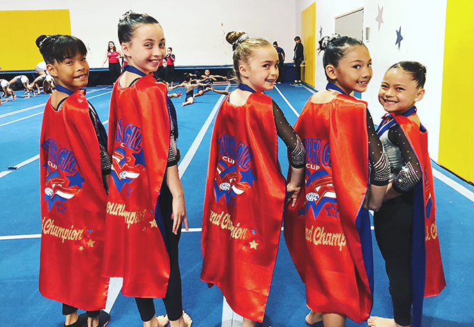 FSG gymnasts at 2019 Wonder Girl Cup